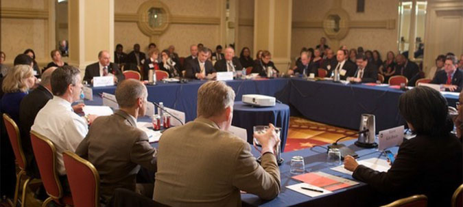U.S. mayors discuss issues on the frontline of homelessness policy at a Winter 2013 meeting.